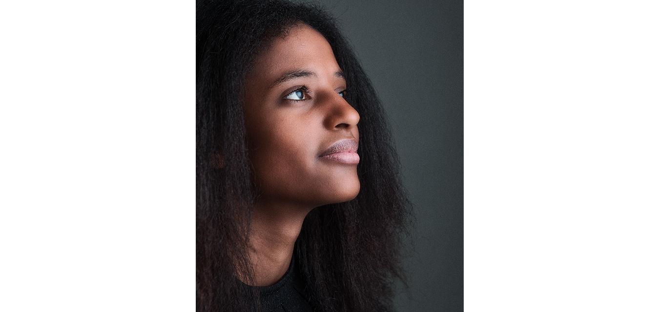 portrait beautiful girl color black hair lips